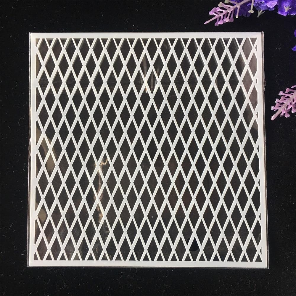 1Pcs 13cm Geometry Diamond DIY Craft Layering Stencils Wall Painting Scrapbooking Stamping Embossing Album Card Template
