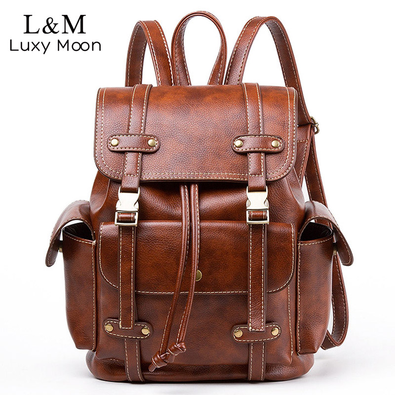Vintage Leather Backpack Women Fashion Large Drawstring Rucksack School Travel Bag For Teenage Girls mochila Black Brown XA480H