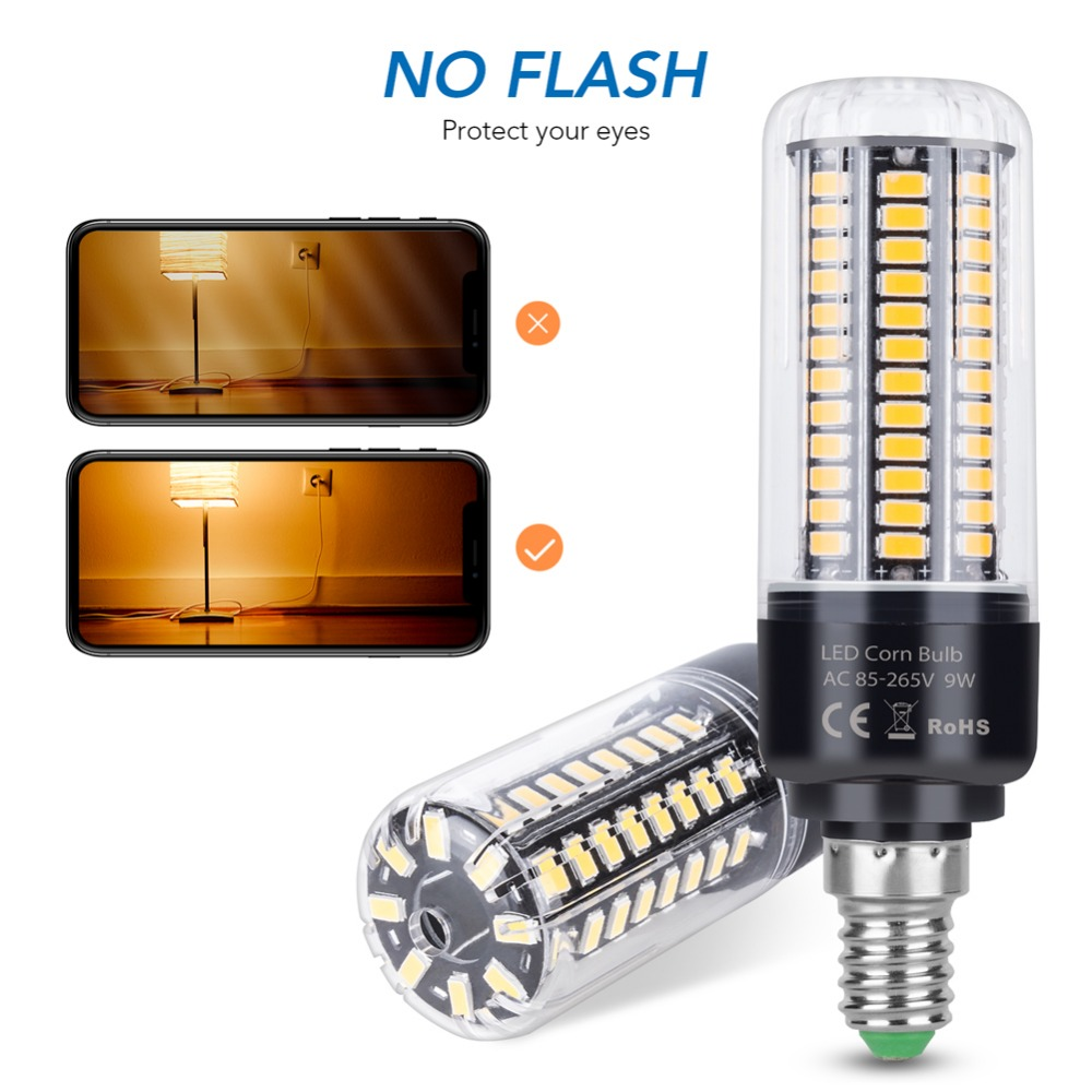 Corn Bulb E27 LED Lamp 220V Bombillas LED E14 5W 7W Candle Bulb 28 40 72 108 132 156 LEDs Light 110V No Flicker Lighting 5736SMD