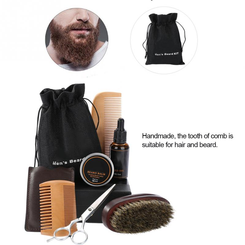 Men's Beard Styling Shaping Mustache Hair Care Tool Beard Styling Beard Comb Balm Oil Grooming Set Mustache Hair Care Tool Kits