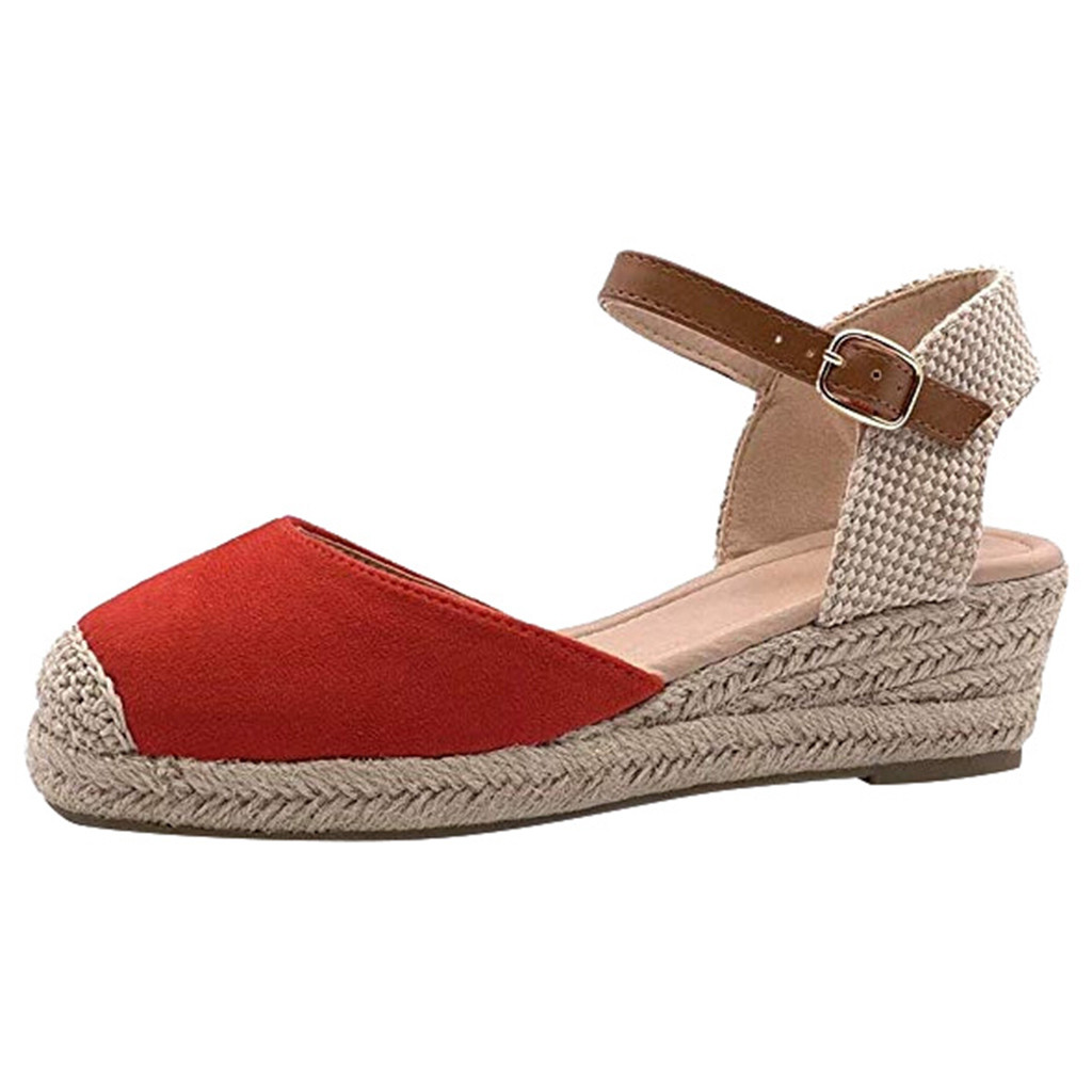 Sandals Buckle Wedge-Shoes Matching Strap Women's Color Lady Wrapped-Toe Shoe--Yl5 Sexy