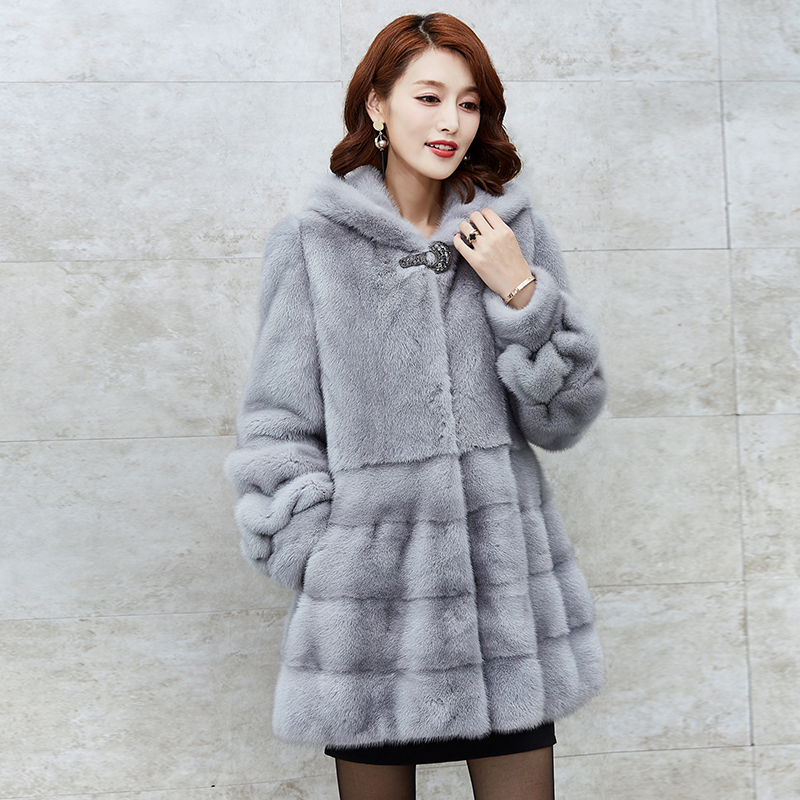 2017 Mink Fur Coat Winter New Long Hooded Mink Coat Women's Fur Coat Real Mink Overcoats D040