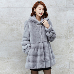 2017 visone cappotto di pelliccia di inverno nuova giacca con cappuccio cappotto di visone cappotto di pelliccia reale del visone delle donne cappotti D040