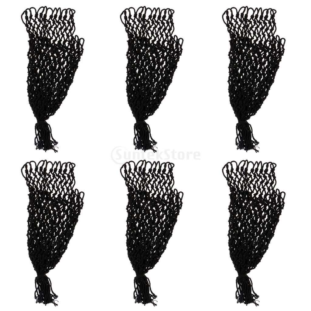 Durable 6 Pieces Cotton Thread Billiards Tables Nets Pool Snooker Meshes Pockets Sets Bag Accessories Parts Black