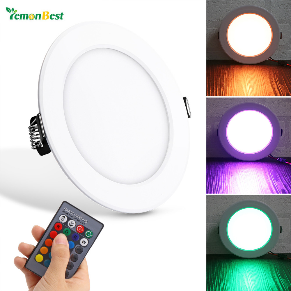 High quality with cheap price led panel light 36w 600x600 ac85 265v - Lemonbest 10w Round Rgb Led Panel Light Concealed Recessed Ceiling Lamp Downlight With Remote Control Ac 85 265v