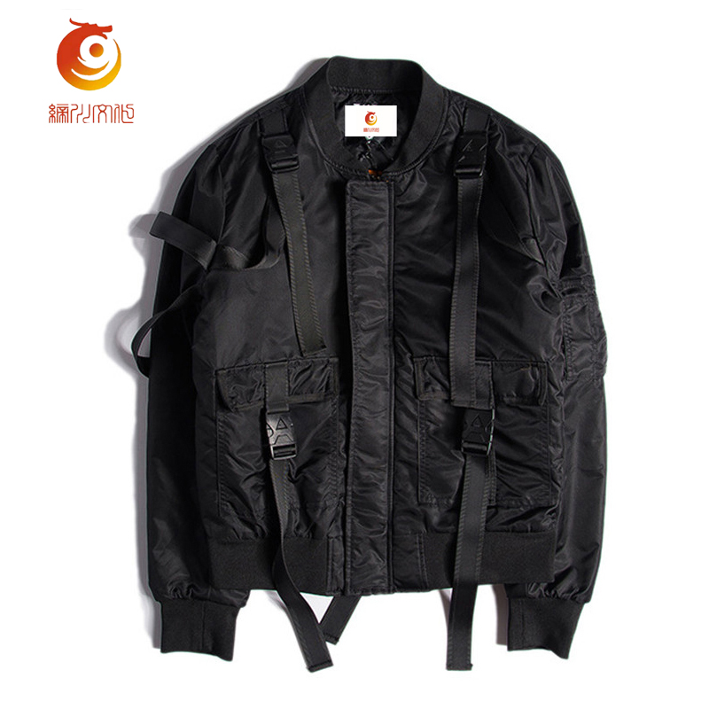 ma1 bomber jacket winter men high quality black punk zipper long veste homme hip hop street mens. Black Bedroom Furniture Sets. Home Design Ideas