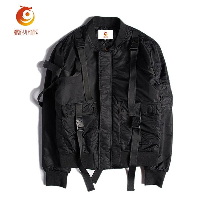 MA1 Bomber Jacket Winter Men High Quality Black Punk Zipper Long Veste Homme Hip Hop Street Mens ...