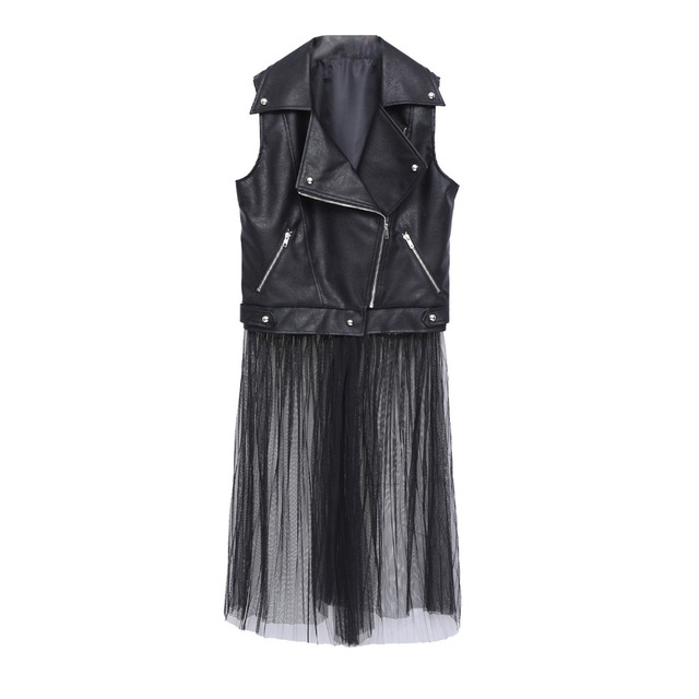 Fashion sexy PU+ gauze dress plus size women