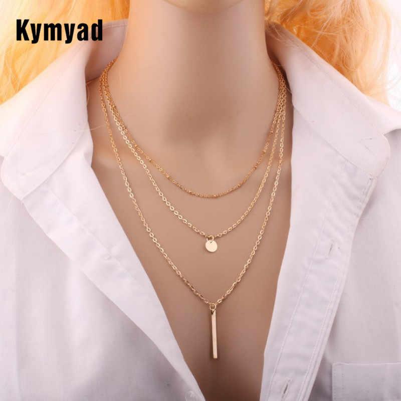 Kymyad สร้อยคอ MultiLayer Choker สร้อยคอผู้หญิงพู่เรขาคณิตสร้อยคอและจี้ทองสี Collier สร้อยคอ