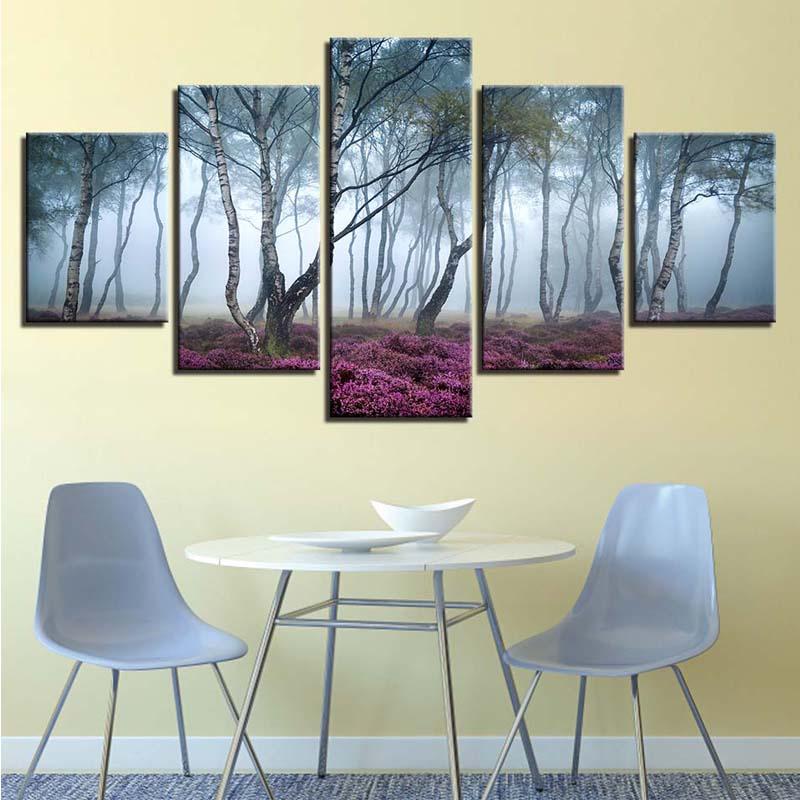 5D diamant image broderie 5 pièces Foggy Forest décoration peinture pleine carré perceuse autocollant point de croix fait main mur Art