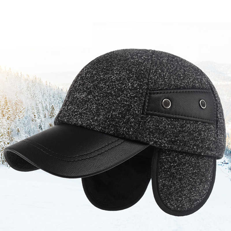 Kagenmo Hidden Ear Protection Male Winter Hat Thick Woolen Keep Warm Winter  Cap Fit For Old 5f73da85e9b5