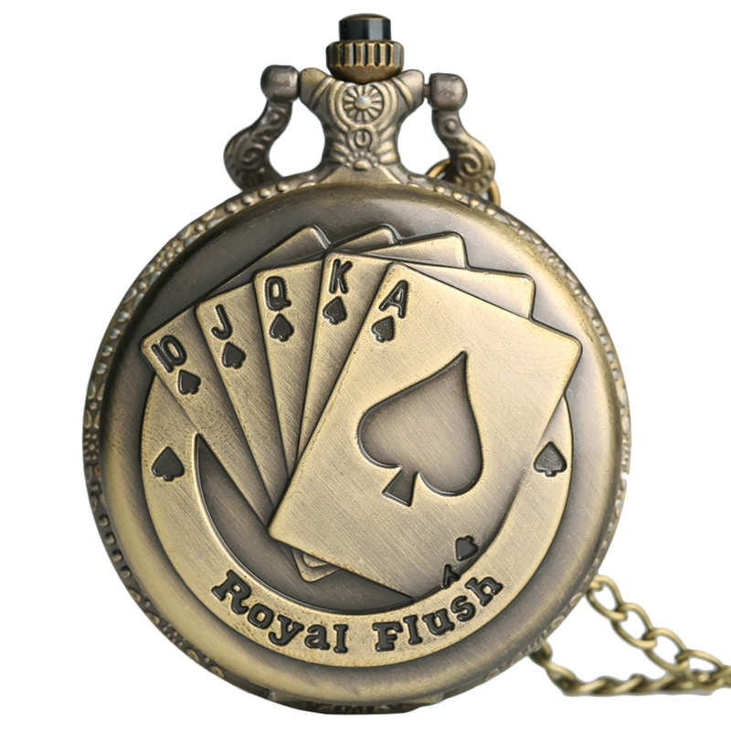 Flush Poker Cards Pattern Necklace Watch Vintage Style Bronze Pendant Chain Classy 3D Poker Face Clock Quartz FOB Pocket Watch
