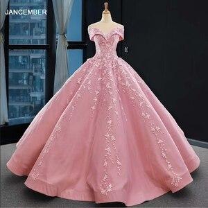 Image 1 - J66590 jancember אפליקציות ורוד מתוקה Quinceanera שמלות 2020 כבוי כתף כדור שמלות קצר שרוול