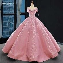 J66590 jancember aplikacje różowe sukienki Quinceanera Sweetheart 2020 Off The Shoulder suknie balowe z krótkim rękawem