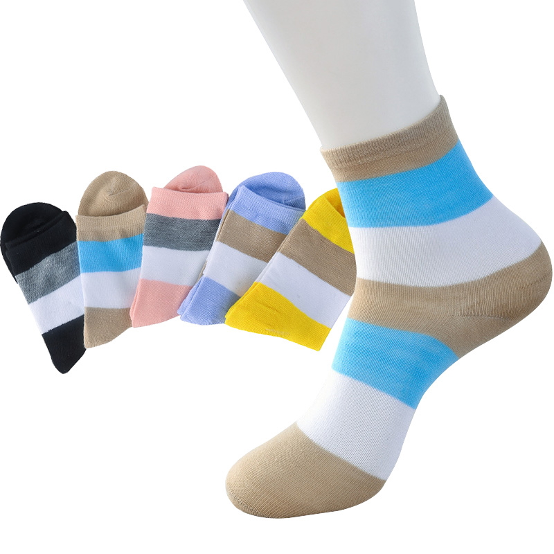 5 Pairs Women   Socks   Multi-color Neatly Striped Female Short   Socks   Spring Autumn Casual Girls High Quality Cotton Meia calcetines