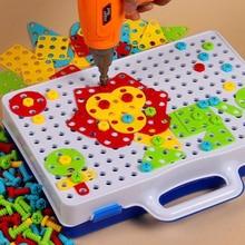 Детские игрушки дрель Головоломка Развивающие игрушки винт DIY игрушки группы KidsTool комплект Пластик мальчик головоломка мозаичный узор строительные игрушки