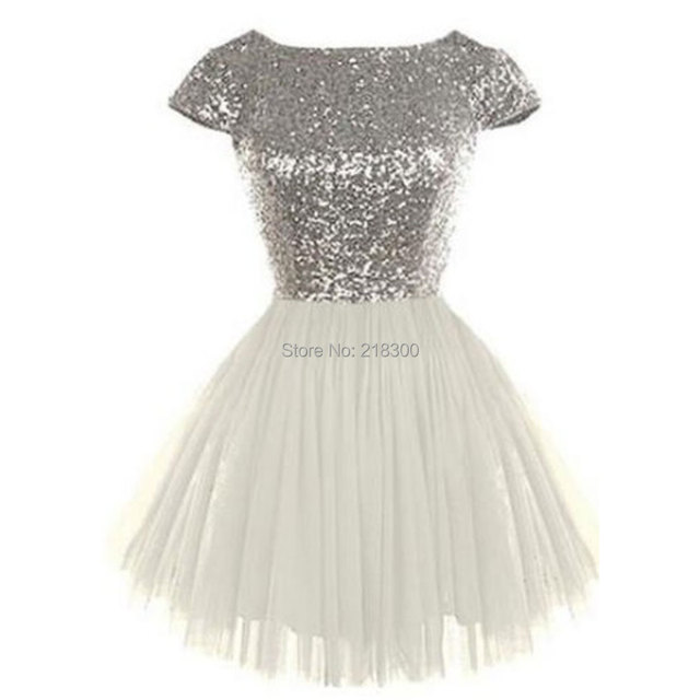 Silver sequin backless white prom dresses with sleeves short homecoming dresses poofy sweet 16 dresses