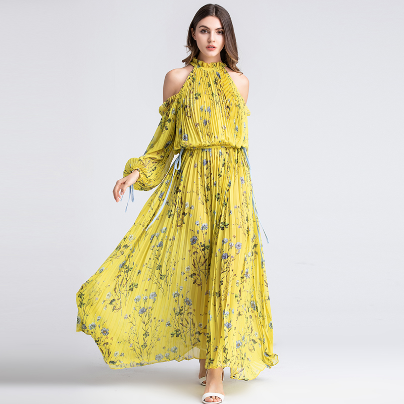 Ladies Long Party Beach Dresses Summer Fashion Halter Long Sleeve One off Shoulder Luxury Yellow Floral