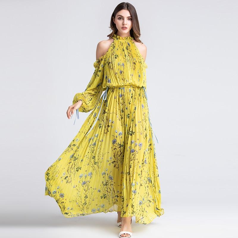 숙녀 긴 파티 비치 드레스 여름 패션 홀터넥 긴 소매 오프 어깨 럭셔리 옐로우 꽃 xxl 플리츠 맥시 드레스-에서드레스부터 여성 의류 의  그룹 1