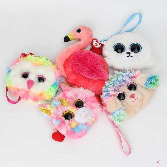 Kawaii TY plush Toys Money Storage Gift Wallets Women Stuffed animals Mini owl unicorn Plush Coin Purse Change Kids Purse Bag