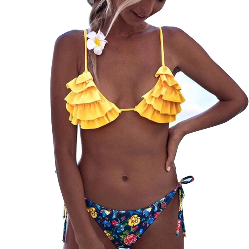 Women Halter Bandage Bikini Set Push-up Ruffle Bra Flower Printed Summer Beach Swimwear YS-BUY 1