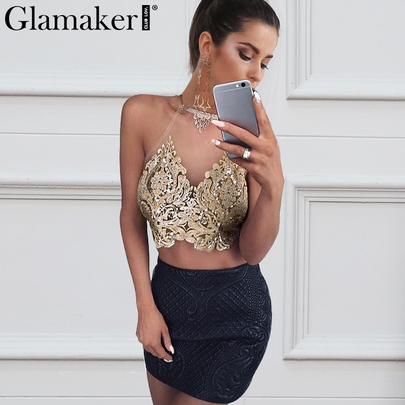 Glamaker Embroidery transparent camisole tank top Women winter sexy crop top Lace up backless gold party top hollow out cami