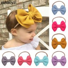 1PC New Arrival  Nylon Headbands 12CM Double Layer Hair Bows Headband Soft Solid Elastic Kids DIY Accessories