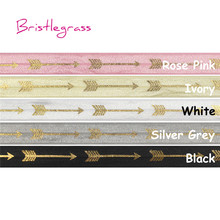 BRISTLEGRASS 5 Yard 5/8 15mm Gold Arrow Foil Print Shiny Fold Over Elastics FOE Satin Bands Headband Hairband Dress DIY Sweing