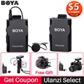 Boya BY-WM4 Wireless Studio Condenser Microphone System Lavalier Lapel Interview Mic for iPhone Canon Nikon Camera Smooth 4