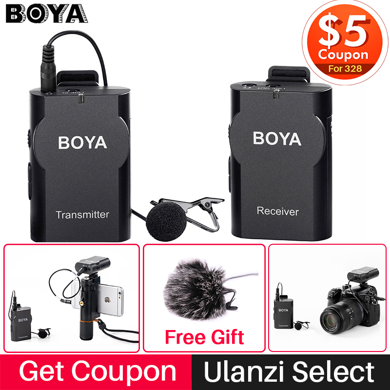 Boya BY-WM4 Wireless Studio Condenser Microphone System Lavalier Lapel Wawancara Mic untuk iPhone Canon Nikon Camera Smooth 4