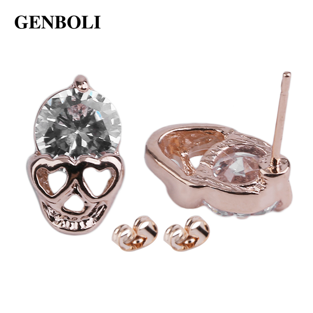 GENBOLI Rose Gold Earrings Female Hypoallergenic Jewelry Skull