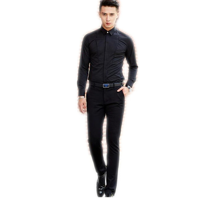 f2db526f732 High Quality man s shirt long sleeve Men s business casual sexy black shirt  contracted design handsome business wear