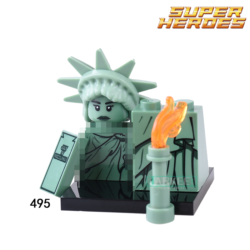 Building Blocks Statue of Liberty Rocket Boy Gingerbread Man Inhumans Royal Family Figures Super Hero Bricks Kids DIY Toys XH495