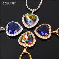 Collare כחול רייקי קסם תכשיטי אהבה תליון לב מתנת אביזרי זהב/צבע כסף טיטאניק שרשרת נשים P169