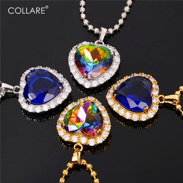 Collare Azul Charme Jóias Reiki Pingente de Coração Dos Namorados Presente Acessórios de Ouro/Cor Prata Titanic Colar Mulheres P169