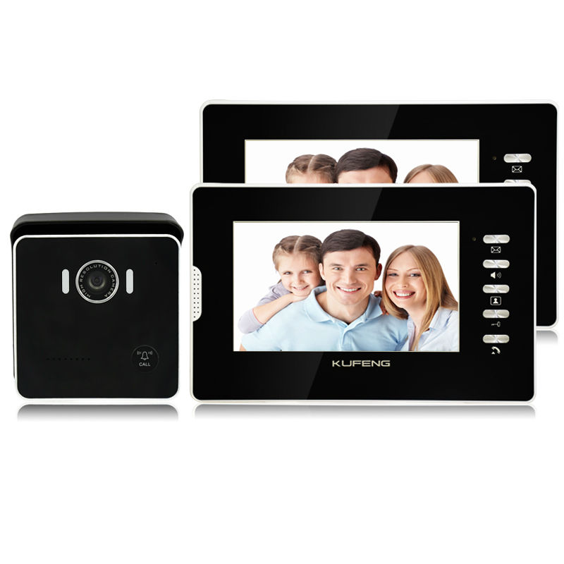 2017 Smart Wried Video Intercom Doorbell for Apartment Camera Doorphone Night-vision color screen doorman home with two monitors 2017 new wired video doorbell intercom doorphone for apartment security camera infrared night vision monitoring 1v4 freeshipping