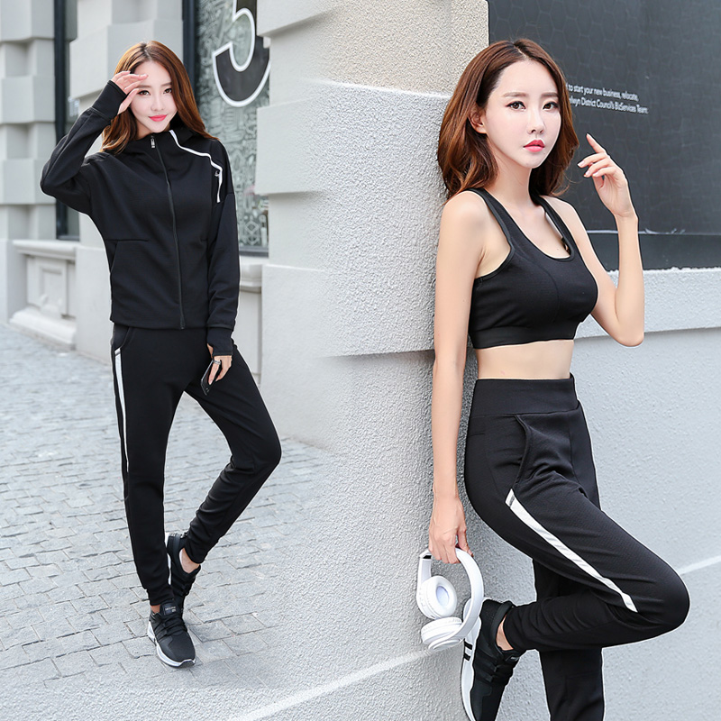 New Top Quality Plus size Fitness Women 3 Pieces Yoga Set Solid Bra & Pants &Hoodies Gym Clothes Sport Wear Running Outdoor Jog