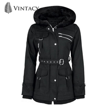 Retro Goth Coats Vintage Women Black Casual Autumn Zipper Belt Hooded Trench Slim Outerwear Punk Streetwear Gothic Coat Mujer rosetic gothic asymmetric coat vintage lace up autumn winter women black trench outerwear casual dark streetwear retro goth coat