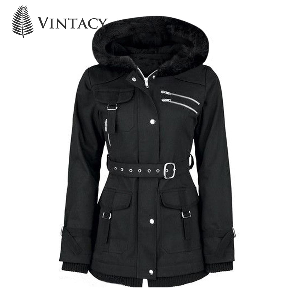 Retro Goth Coats Vintage Women Black Casual Autumn Zipper Belt Hooded   Trench   Slim Outerwear Punk Streetwear Gothic Coat Mujer