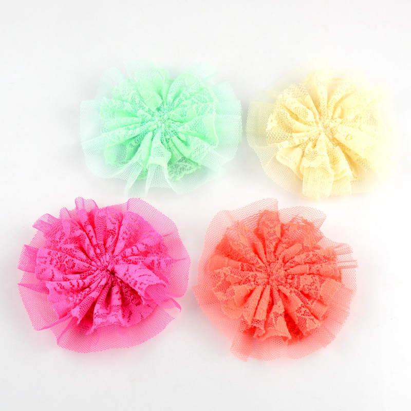 Artificial Decorations Ruffled Mesh Lace Rose Ballerina Flowers Tutu Hair Flower Diy Boutique Garment Hair Accessories Kx088 Festive & Party Supplies