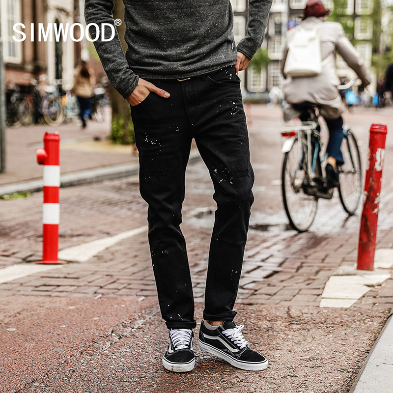 SIMWOOD 2017 Autumn New Jeans Men Slim Fit Vintage Inkjet Jeans Male Denim Trousers Fashion Plus Size Brand Pants NC017025 men jeans 2017 autumn winter mens denim jean blue cotton pants men denim trousers slim fit jeans male plus size high quality