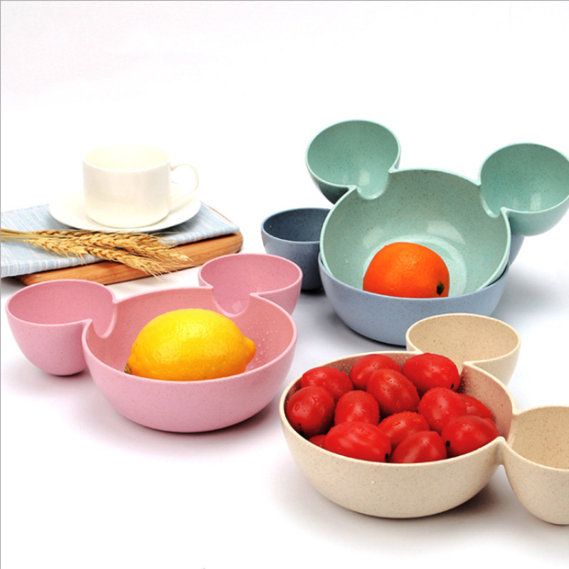 Mickey Bamboo Baby Tableware Kids Divided Bowl FOOD GRADE ECO Children Baby Plate Baby Feeding Dinnerware Eating Food Dishes