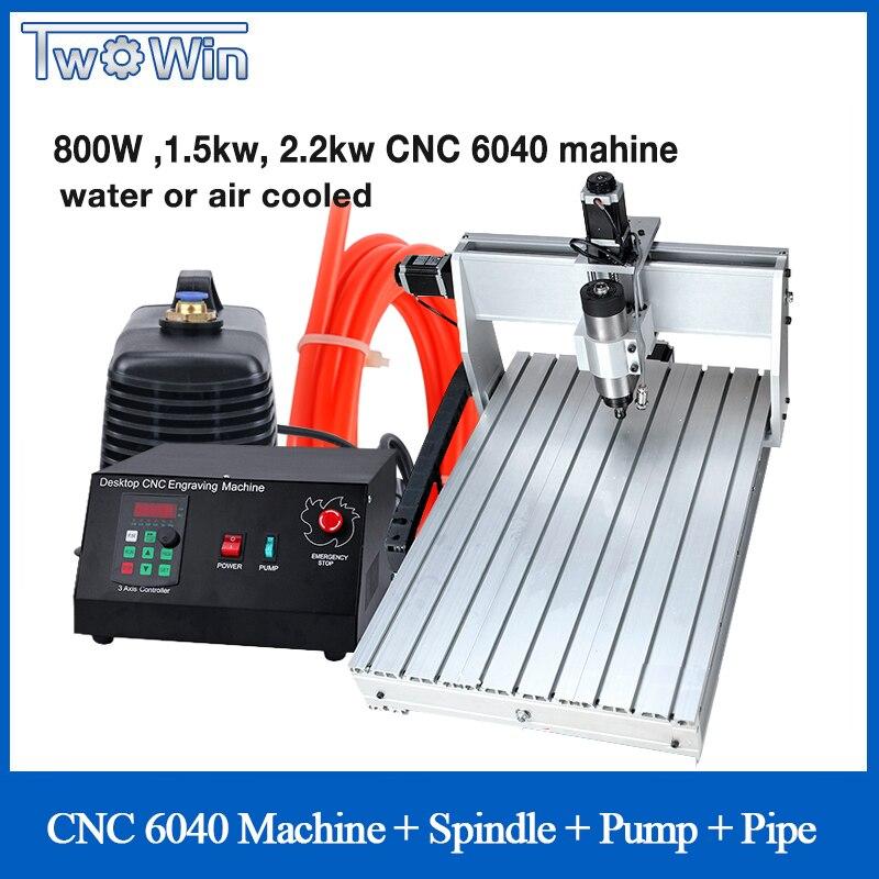 800 W 1.5kw 2.2kw CNC 6040-Três eixos CNC Router Gravador Gravura de Trituração de Perfuração Máquina de Corte + Caixa de Controle tubulação da bomba