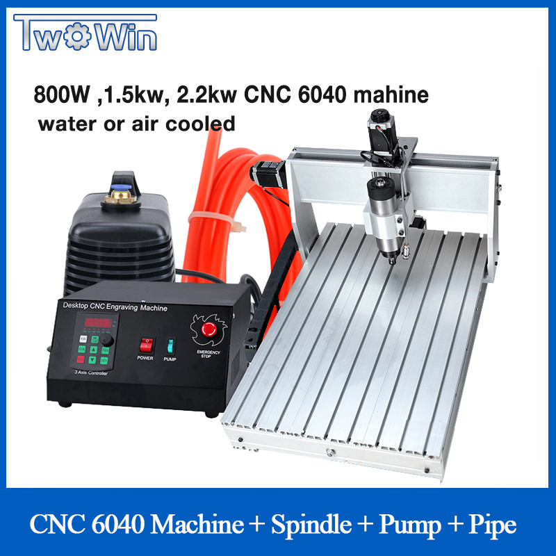 800W 1.5kw 2.2kw  CNC 6040 Three-axis CNC Router Engraver Engraving Milling Drilling Cutting Machine + Control Box Pump Pipe