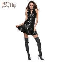 YH 2025 Sexy Black Temptation Uniform PVC Leather Imitation Gold Stage Uniform Night Show Pole Dancing Club Dress