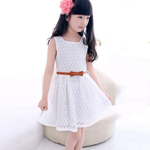 a2dcd171d786 Girls Dresses Summer 2015 Princess Dress 100%Cotton Girls Clothes Lace Bow  Belt White   Red Color Kids Dresses For Girls