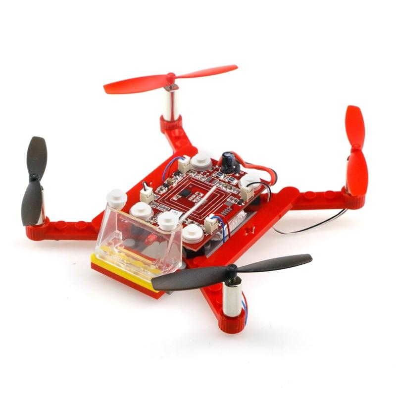 ФОТО 3D Building Block Quadcopter DIY Bricks Mini Drones Diy Toys For Kids Rc Assembled Model Drone Building Kits Educational Toy