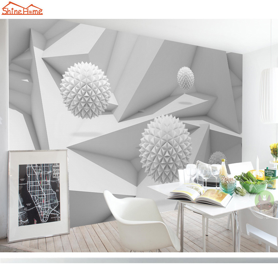 Shinehome-Modern 3d Abstract Geometric Space Brick Ball Mural Rolls Background Wallpaper for 3d Living Room Wall Paper Roll battlefield 3 или modern warfare 3 что