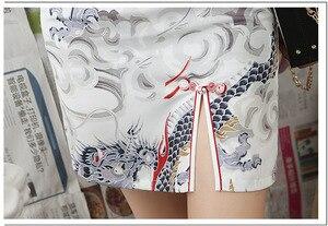 Image 4 - שנג קוקו לבן דרקון Cheongsam שמלות מודרני צעיר סגנון שונה גרסה Qipao יומי קצר שנחאי מזרחי סיני שמלה