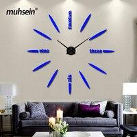Muhsein фабрики 2017 настенные часы акрил + EVR + металл зеркало супер большие часы Горячие DIY Свадебные украшения Бесплатная доставка